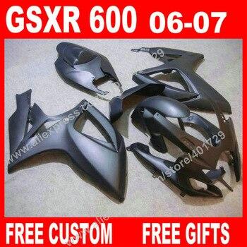 Hot sale Fairings for 2006 2007 new all flat gray SUZUKI GSXR 600 750 7 gifts K6 BACARDI GSXR600 GSXR750 kit bodywork KO82