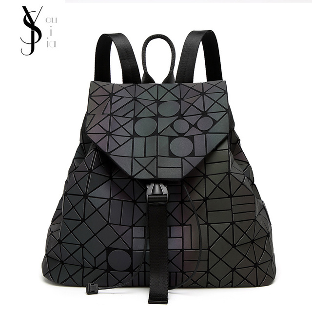 2018 New Luminous Backpack Diamond Lattice Bag Travel Geometric Women  Fashion Bag Teenage Girl School Noctilucent Backpack dd7c6b863d964