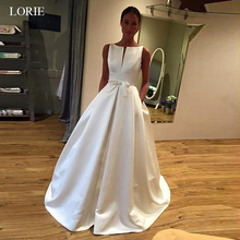 LORIE Wedding dress 2019 Elegant SatinSmall V Neckline A-line Wedding Dress With Bowknot & Pockets High quality vestido de noiva