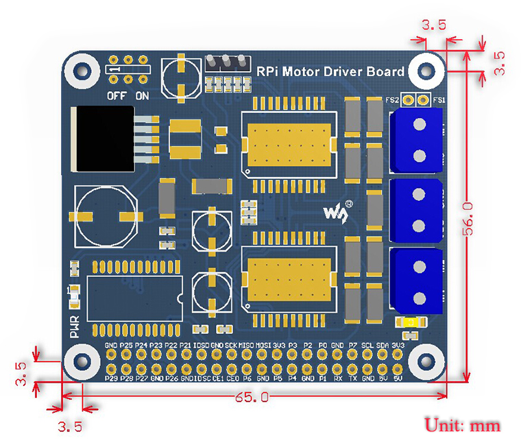 RPi Relay Board board dimensions