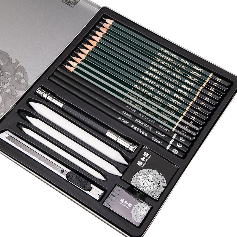 DELI Sketching Art Set Profesional Sketch Charcoal Pencils Art Painting Drawing Pencil Chinese Summer Palace Art Supplies