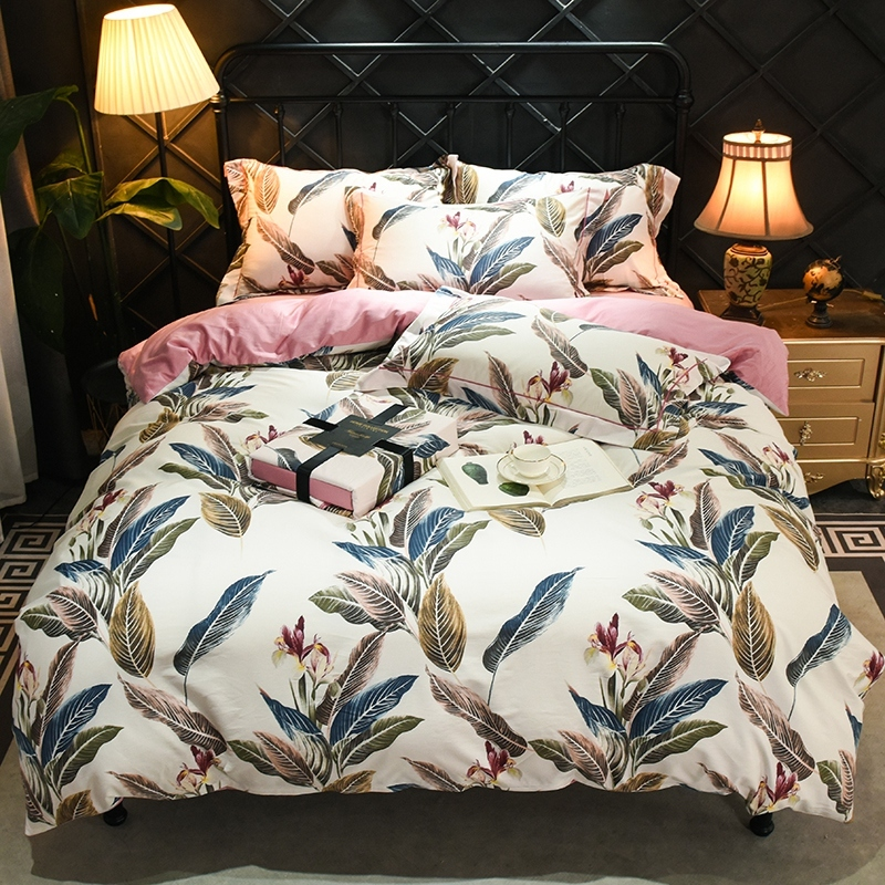Soft Silky Egyptian Cotton Twin Queen King size Bedding set Bed sheet set Leaves Floral Bloom Colorful Duvet Cover Bed set 4Pcs