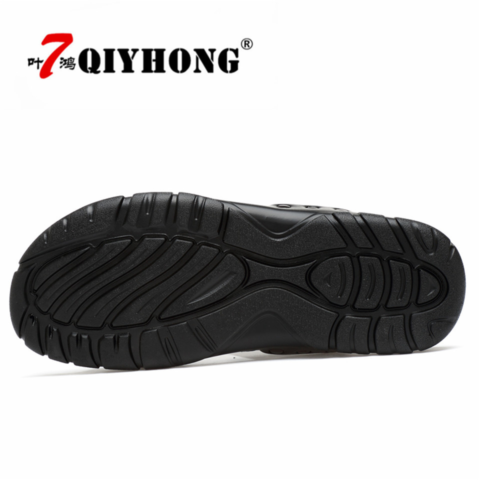 Genuine Leather Slippers Men Summer Sandals Breathable QIYHONG Brand Designer Stylish Shoes Real Leather Seaside Beach Flats in Slippers from Shoes