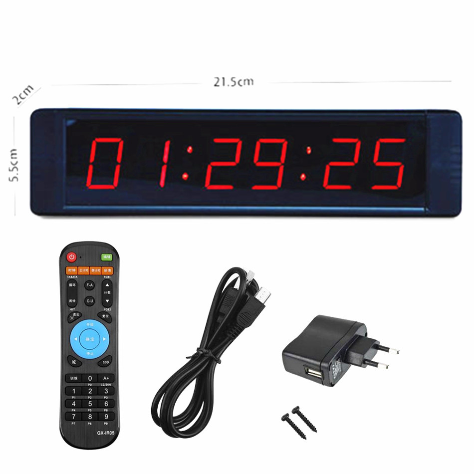 6 Digits Led Display Electronic Clock Timer 12H / 24H LED Countdown Clock IR Remote Gym Fitness Training Count Up Countdown Time