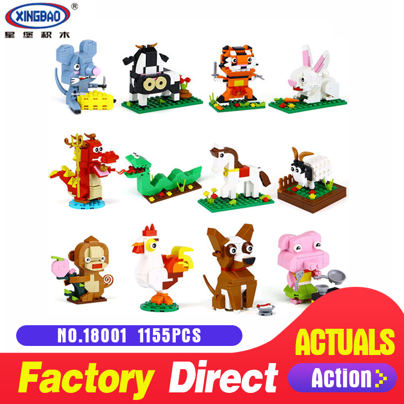 XingBao 18001 The Chinese Zodiac Set 1155Pcs Building Blocks Bricks Funny DIY Educational Toys Model For Children Holiday Gifts
