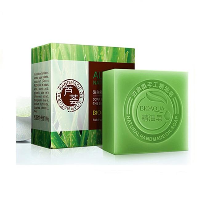 3 Pcs Aloe Vera Sabonete Artesanal Sabão Clareamento Da Pele Blackhead remover Acne Tratamento Acne Lavar o Rosto Banho de Cuidados Com Os Cabelos Cuidados Com A Pele