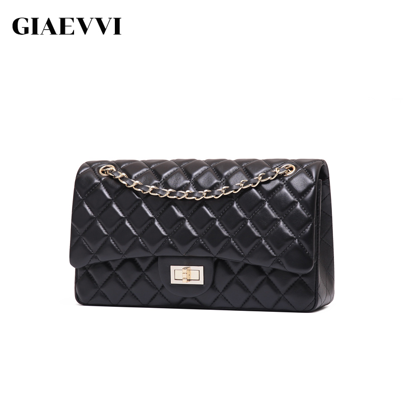 GIAEVVI Luxury Genuine Leather Handbag Women Messenger Bags Famous Brands Women Crossbody Bag Candy Color Chain Shoulder Bags giaevvi luxury handbags split leather tote women messenger bags 2017 brand design chain women shoulder bag crossbody for girls