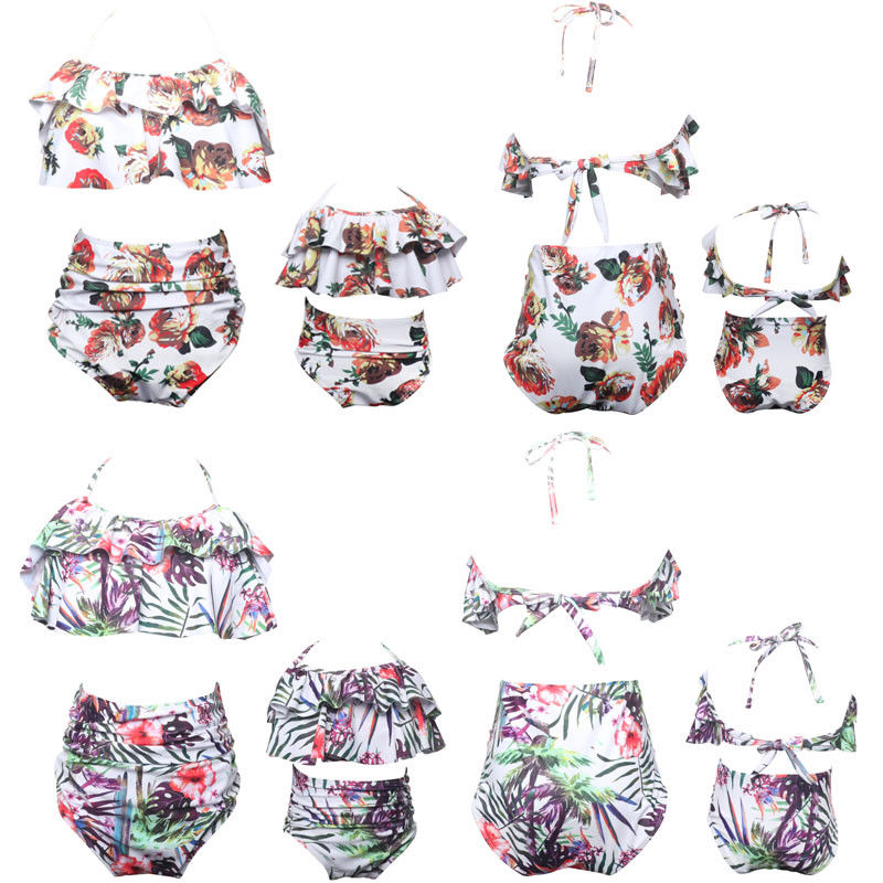 4353ccf925 Detail Feedback Questions about Family Matching Swimsuit Fashion New Women  Baby Girl Bikini Nylon Print Bathing Suit Swimwear Family Matching Swimsuits  on ...