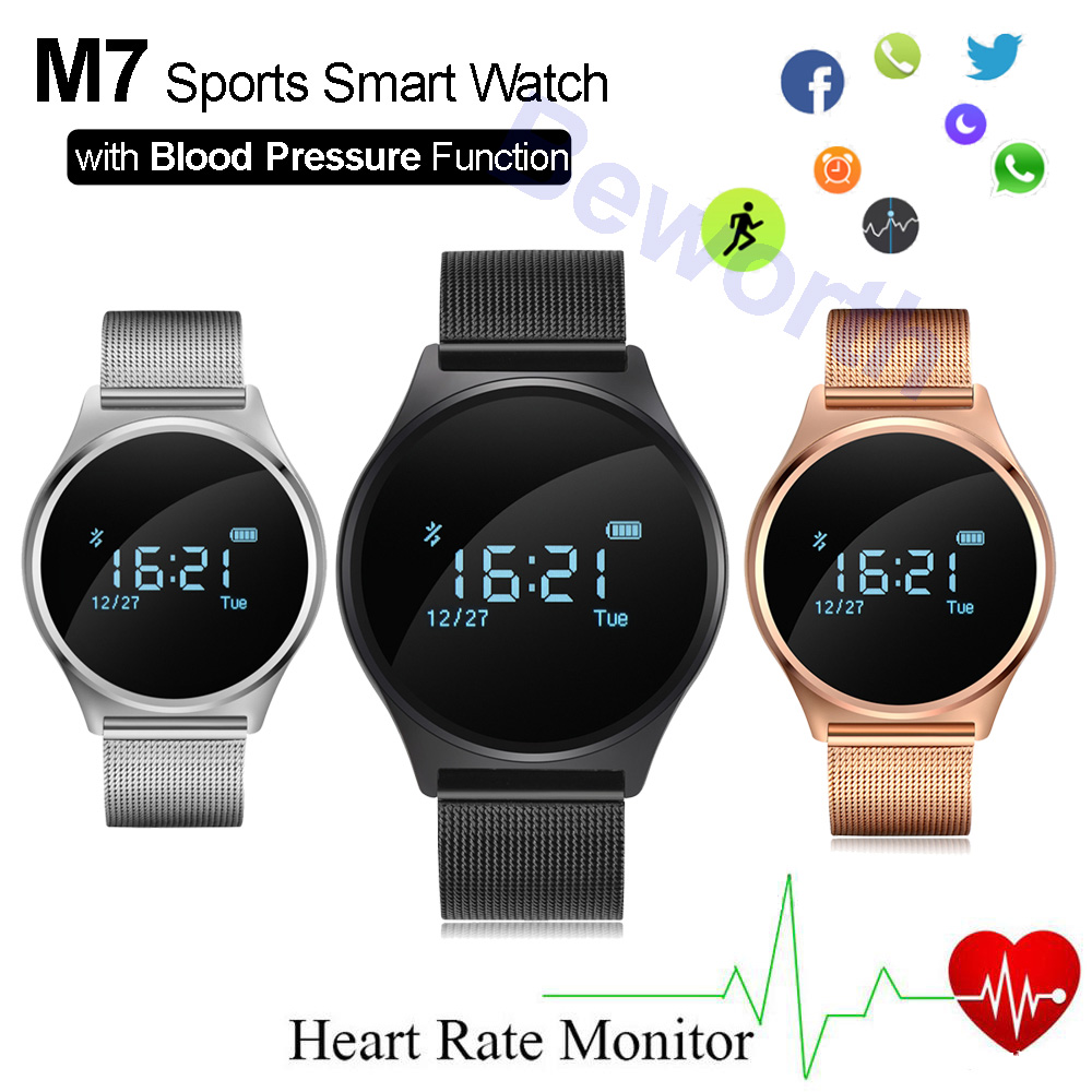 Sports Smart Watch Heart Rate Monitor Blood Pressure Smart Band Leather Steel Band Round Dial Bluetooth Smartwatch for Xiaomi M7 f2 smart watch accurate heart rate