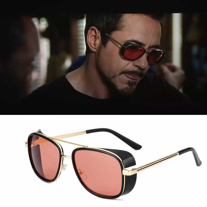 58e7c4abe0 The Avengers Iron Man Retro Sunglasses Tony Stark Vintage Eye Glasses  cosplay Eyewear Metal Frame prop