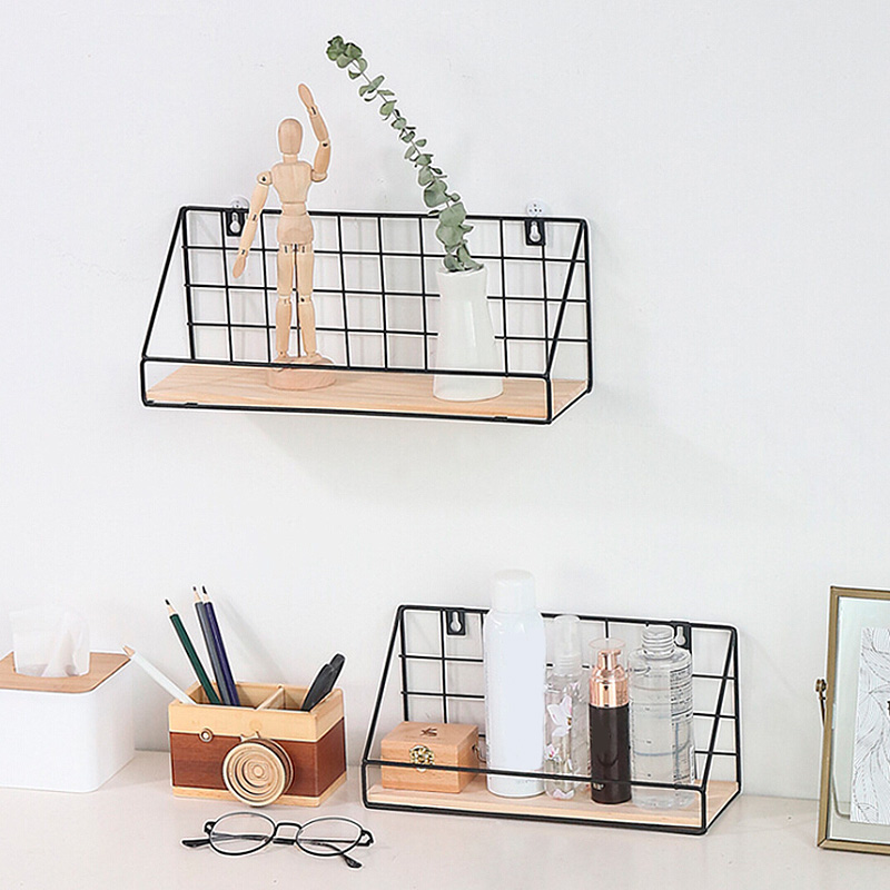 Diy Wooden Iron Wall Shelf Wall Mounted Storage Rack Organization For Kitchen Bedroom Home Decor Kid Room Wall Decoration Holder