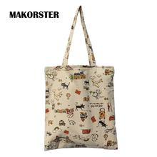 small cat pattern Casual Canvas summer beach bags women 2016 handbags china sac a main designer handbags Top-Handle Totes FBYT
