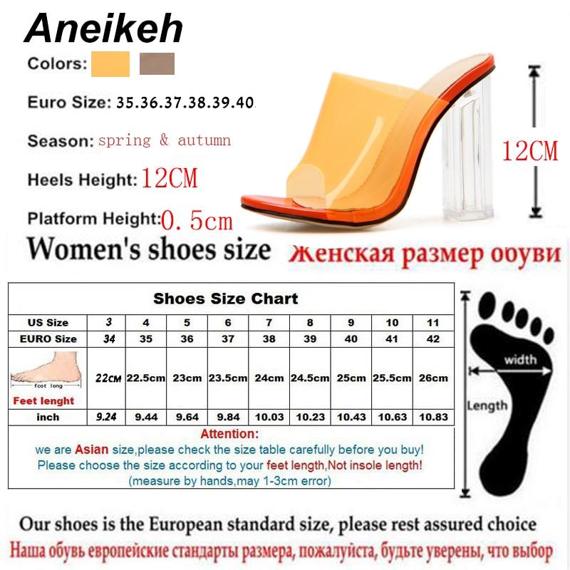Aneikeh New Women Sandals PVC Jelly Crystal Heel Transparent Women Sexy Clear High Heels Summer Sandals Pumps Shoes Size 41 42