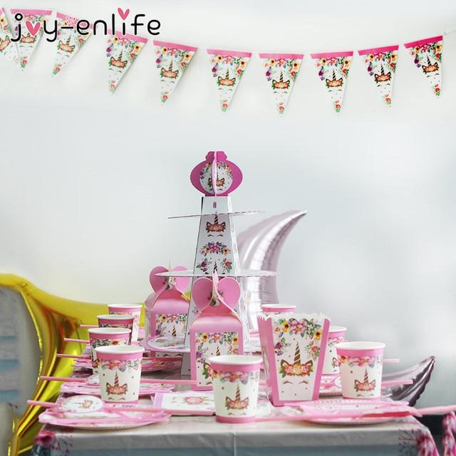 Unicorn Party Supplies Pink Rainbow Unicorn Banner Plates Balloons Napkin Cupcake Wrapper Baby Shower Kids Birthday Decorations 3