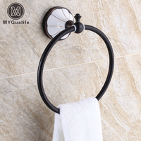Free Shipping Wholesale And Retail Luxury Ceramic Printing Towel Ring Wall Mounted Solid Brass Bathroom Round