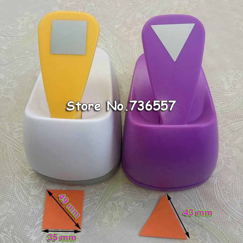 2 inch Triangle and Square Shaped hole punch set Puncher Crafts Scrapbooking DIY Paper Cutter Geometric shape Punches Free ship diy 15 tones hand cranked music box movement with hole puncher and paper tape