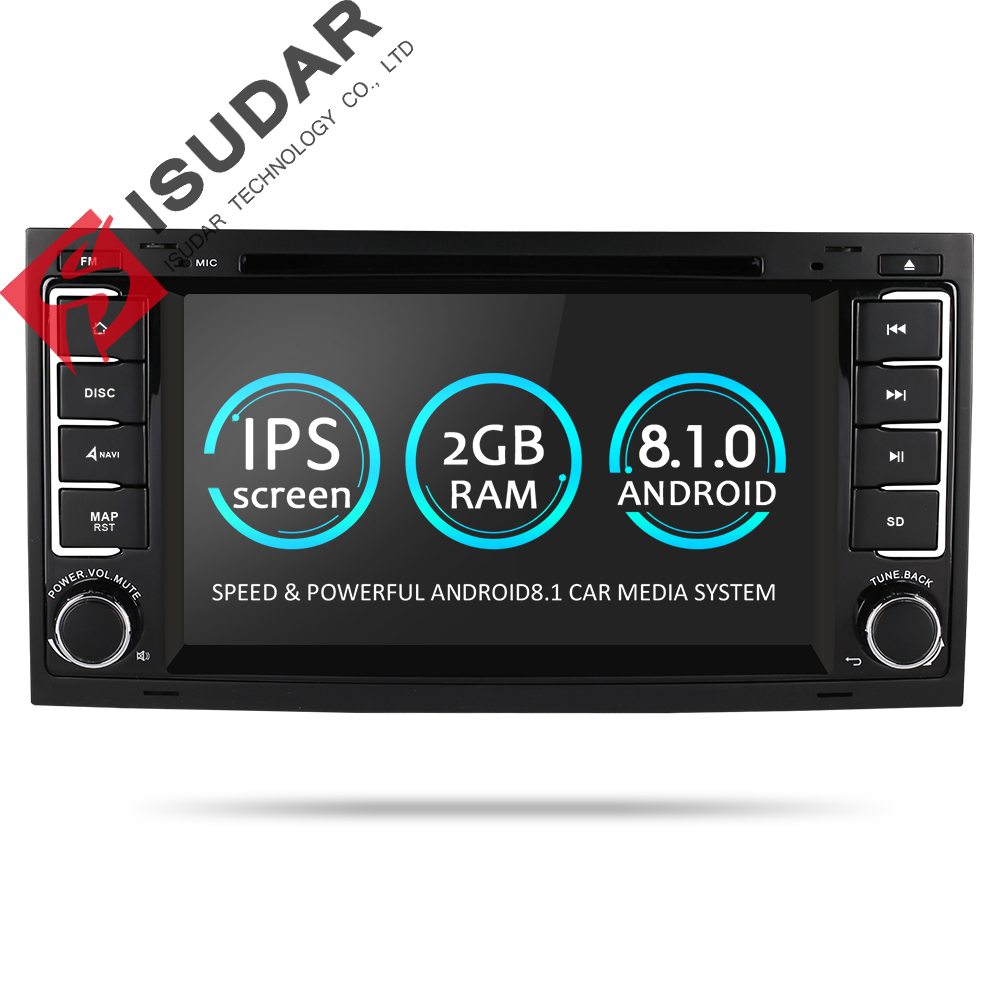 Isudar Car Multimedia Player Android 8.1.0 2 Din DVD Automotivo For VW/Volkswagen/Touareg/Transporter T5 Radio GPS 4 Core 2G RAM подвесная люстра odeon light alvada 2911 8