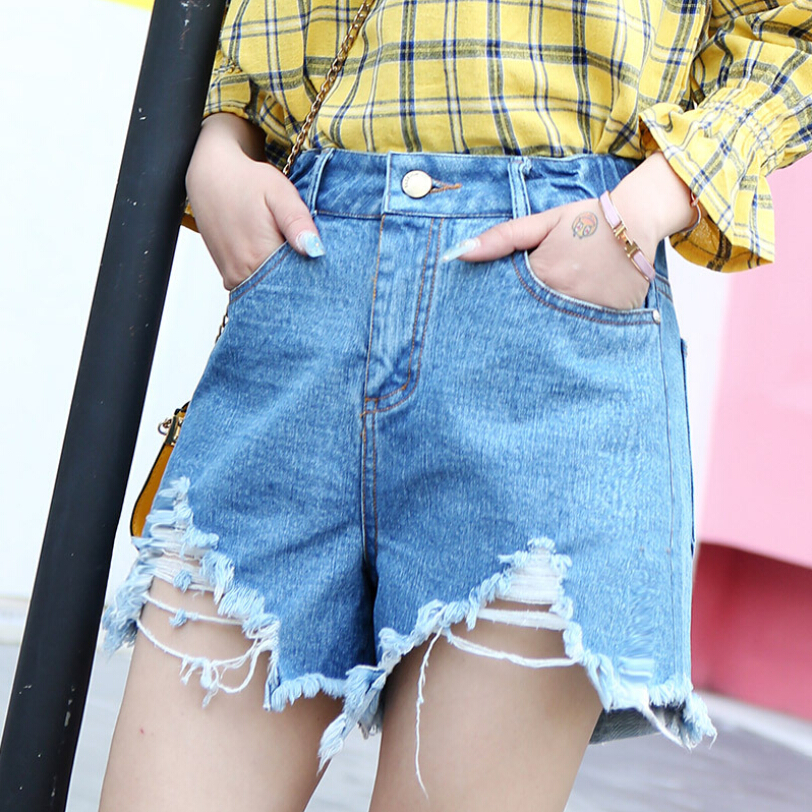 2018 With High Waist Jeans Woman High Elastic Jeans femme washed casual pants plus size Women Jeans Denim shorts for women