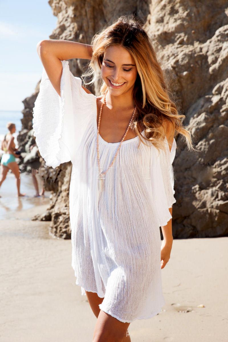 07253b72b9 New Woman Beach Dress swimwear cover up Sexy Swimwear Summer White ...