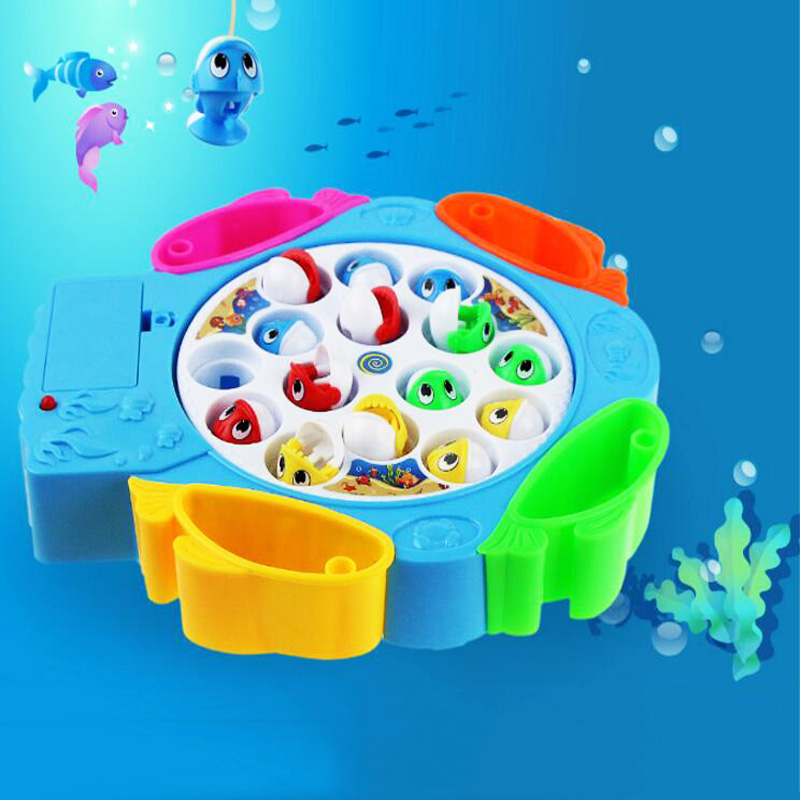 Rotating fishing toys for children educational toys musical gifts electric fishing game no magnetic sports kids toys