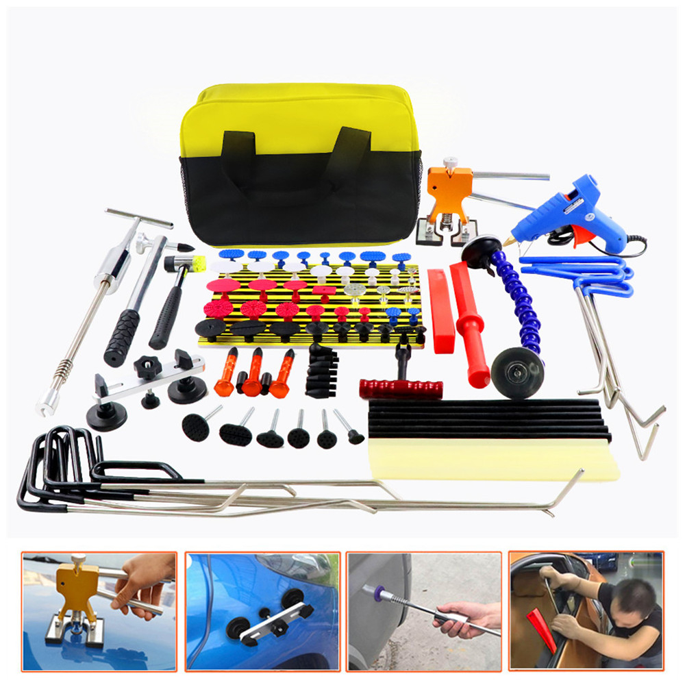 WEYHAA PDR Rods Hook Car Dent Repair Dent Removal Tools Paintless Dent Repair Dent Puller Lifter Glue Gun Tap Down Tool Kit