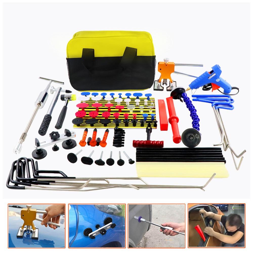 WEYHAA PDR Rods Hook Car Dent Repair Dent Removal Tools Paintless Dent Repair Dent Puller Lifter Glue Gun Tap Down Tool Kit