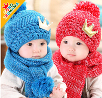 GONGZHUMAMA 2015 Winter Warm Children Fashion Hat Scarves Sets Boy Girl Knitted Caps Sets Baby Clothing