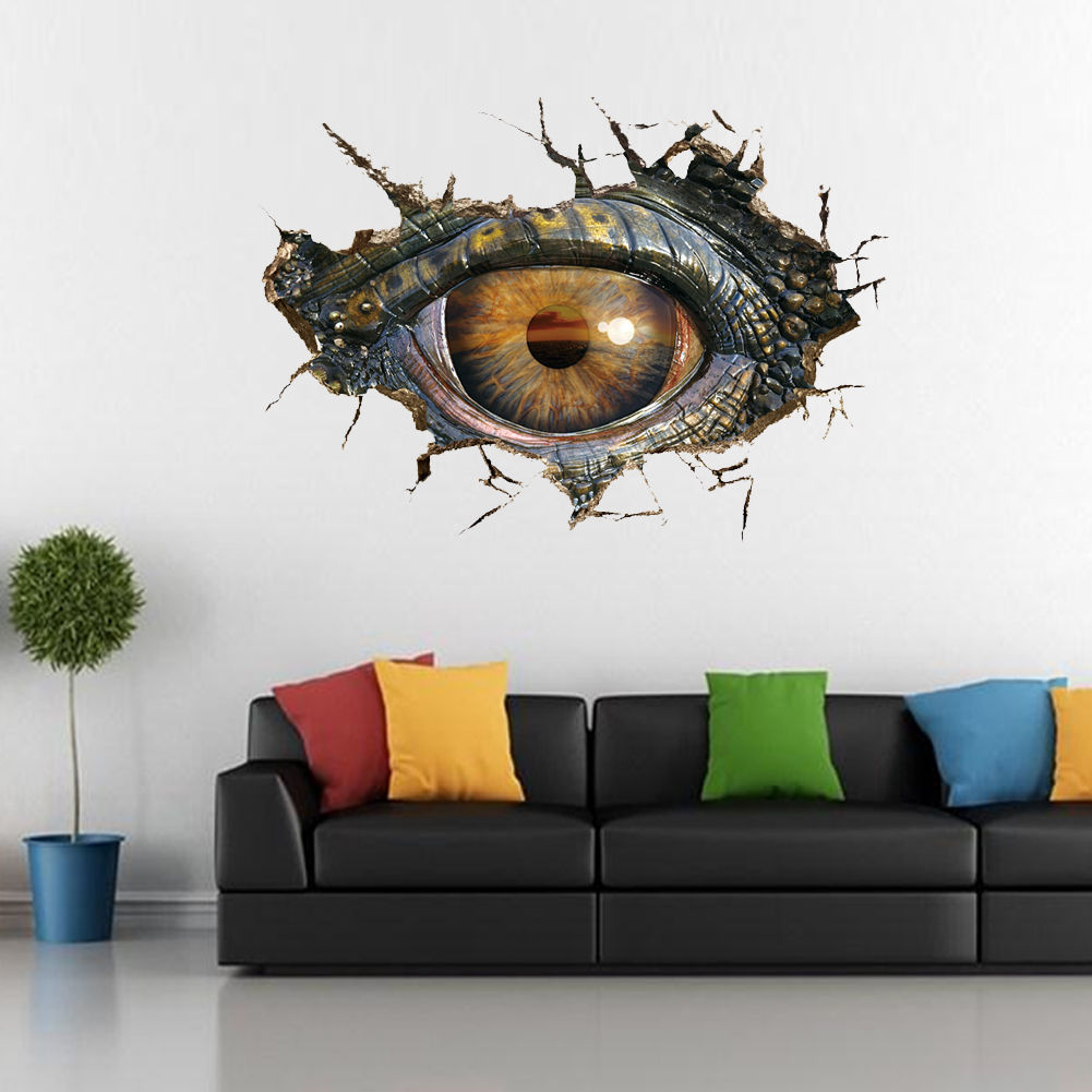 Removable Dinosaur Eye 3D Cracked Wall Sticker PVC Mural Decal ...