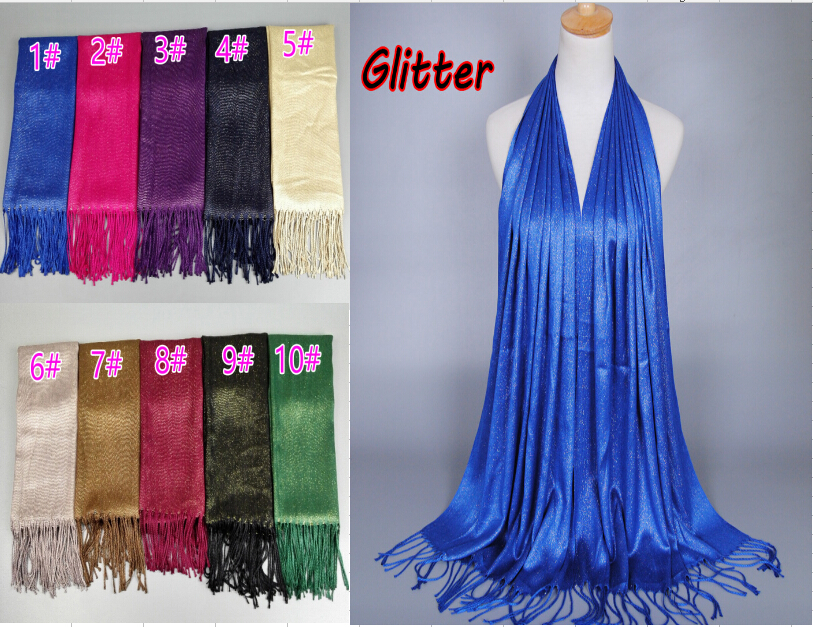 24pieces lot Wholesale cotton glitter tassels scarf muslim scarves muslim long hijab can choose colors