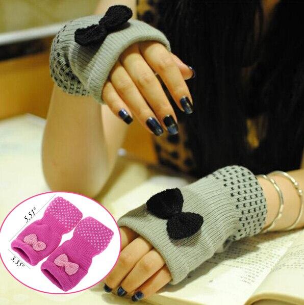 Las nuevas para mujer del Bowknot guantes sin dedos primavera otoño ...