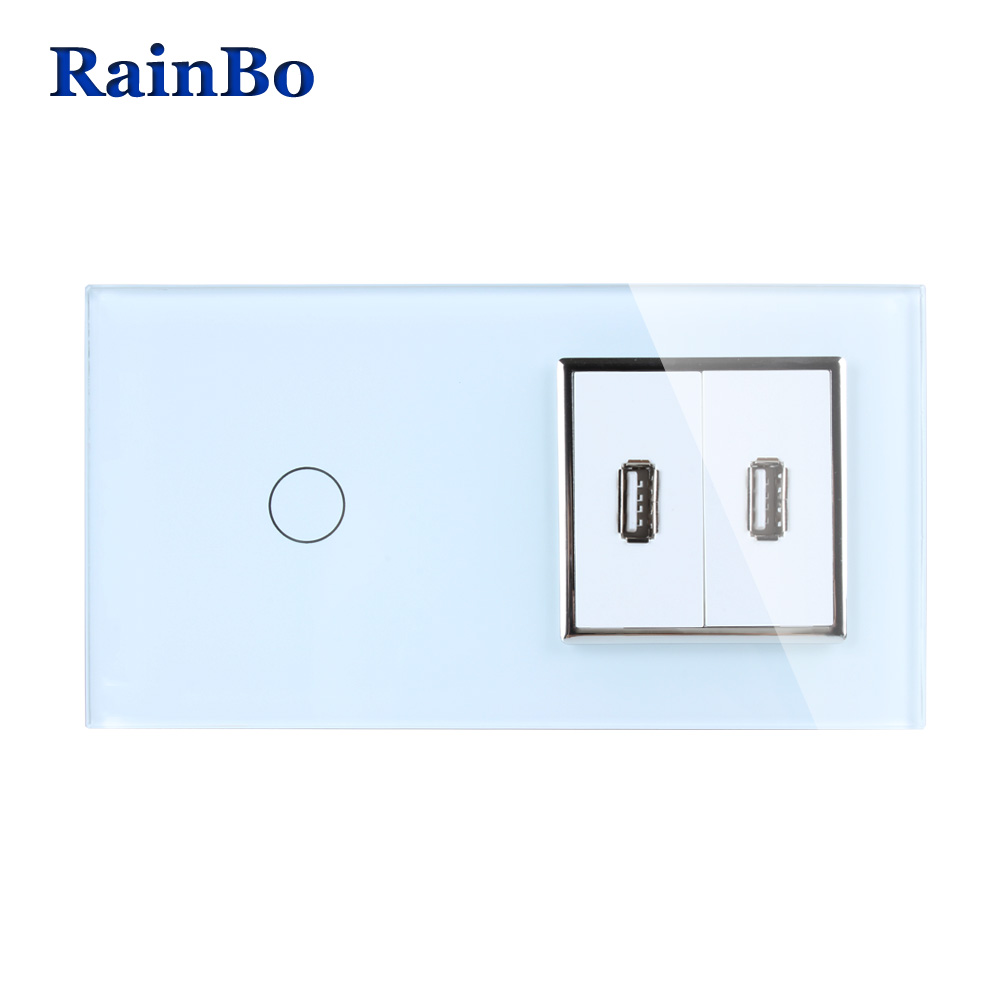 RainBo Touch Screen Control Tempered Crystal Glass Panel Wall Light  Touch Switch Socket Wall Power USB Socket A29118E2USCW/B 2017 free shipping smart wall switch crystal glass panel switch us 2 gang remote control touch switch wall light switch for led