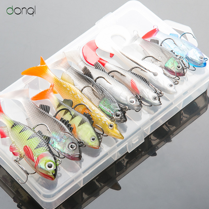 DONQL Weicher Köder Kit Set Wobbler Pesca Künstliche Köder Silikon Angeln Lockt Meer Bass Karpfen Angeln Blei Fisch Jig
