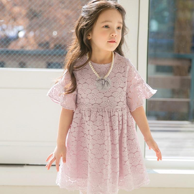 Baby Girls Dress Vestidos 2018 Summer Princess Costume Cotton Girls Dresses Kids Clothes Pink Lace Dress for Girl Robe Enfant 12 стоимость