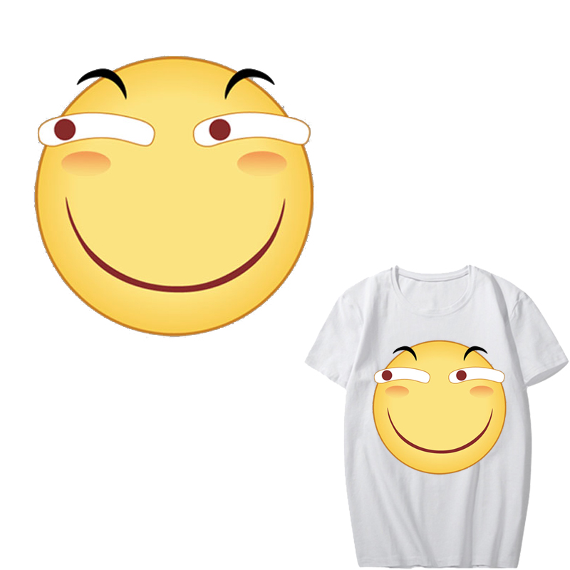 Iron on Funny Emoji Patches Heat Transfer Vinyl Washable Stickers for Clothing DIY T shirt Decoration Applique Thermal Press in Patches from Home Garden