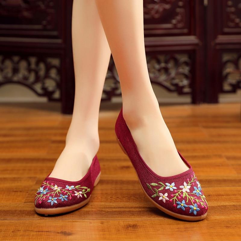 Женские тканевые туфли на плоской подошве, с мягкой подошвой и вышивкой, удобные танцевальные туфли в национальном стиле, осень 2018|Обувь без каблука|   | АлиЭкспресс