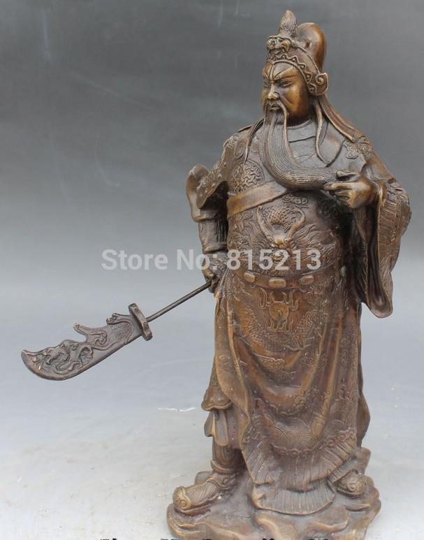 """bi001261 14"""" Chinese Bronze Dragon Guan Yu Warrior God Guan Gong Hold Sword Buddha Statue"""