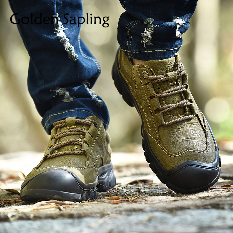 Golden Sapling Outdoor Sneakers Men Hiking Shoes Breathable Leather Men's Sneakers Waterproof Mountain Trekking Men Sports Shoes брюки dressed in green брюки page 8