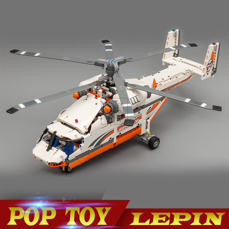 NEW Lepin 20002 technology series of double rotor transport helicopter model building pieces bricks compatible legoing 42052 toy new lepin 20002 technology series mechanical group high load helicopter blocks compatible with 42052 boy assembling toys