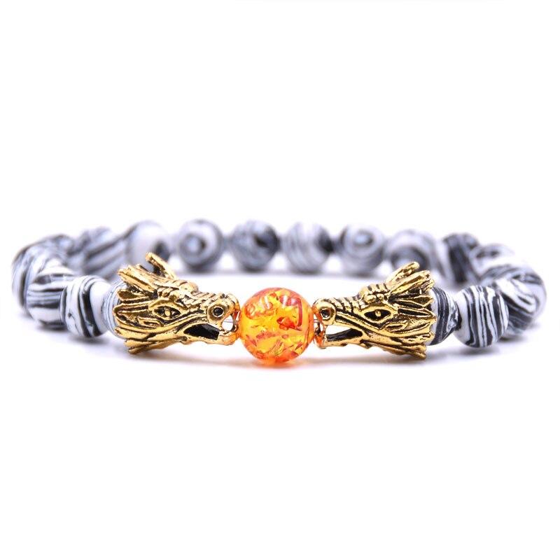 HYHONEY 8MM Natural Stone Beads Bracelet For Men bileklik Men Jewelry Dragon pulseras 19