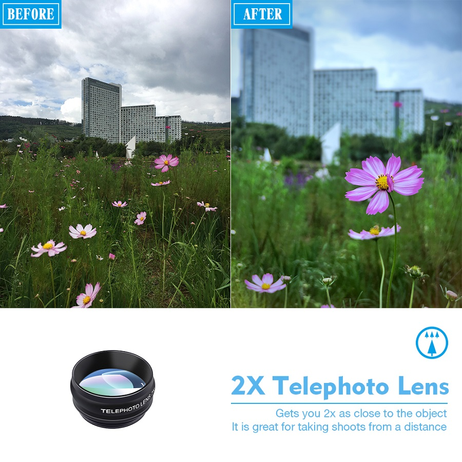 APEXEL 10in1 mobile Phone Lens Kit Fish eye Wide Angle Telescope  Macro Lens for iphone huawei samsung galaxy android celphones