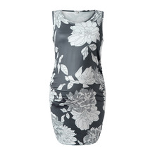 Pregnancy Dress Women's Sleeveless Floral Print Slim fit Dress Maternity Dress Photography Summer Fashion Plus Size Dress S-3XL