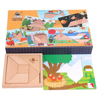 Children's wooden toys personality Tangram jigsaw puzzles Montessori early education enlightenment children's toys gifts