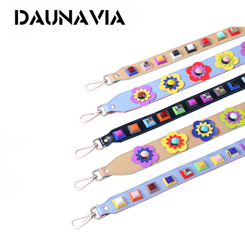 DAUNAVIA Fashion Rivet Summer Women Bag Strap Snakeskin PU Shoulder Straps For Handbags Casual Replacement Straps For Bags 2019