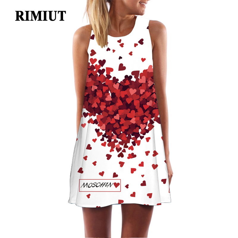 Rimiut 2018 3D Floral Print Plus Size Women Loose Summer Beach Dresses O-Neck Bohemian Female Mini Dress S-2XL Hot Sale