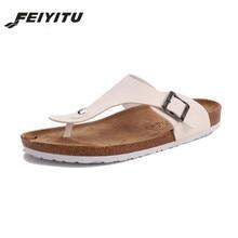 FeiYiTu New Summer Men Beach Cork Slippers Sandals unisex Casual Double Buckle Clogs Sandalias Slip on Flip Flops Flats Shoes цена