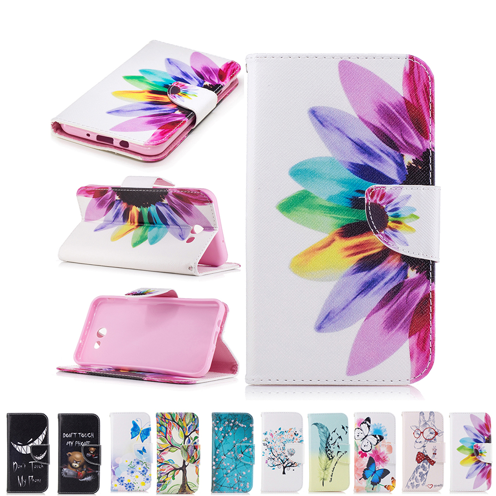 For Galaxy J7 Sky Pro Case Colorful Flowers Tree Bear
