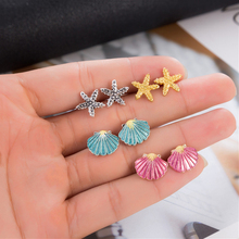 4 Pairs Bohemian Colorful Starfish Shell Stud Earrings For Women Ocean Beach Party Jewelry Boucle Doreille