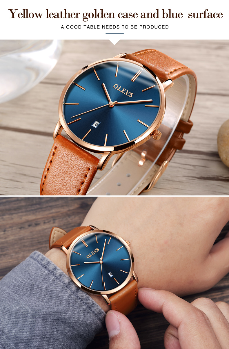 Men luxury brand quartz watches leather strap minimalist ultra-thin waterproof watch fashion wrist watch with high quality 16
