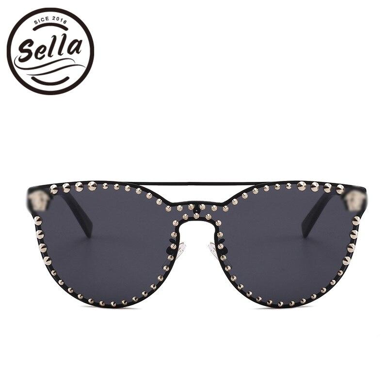 Sella High Quality Super Fashion Women Men Retro Cateye Nail Decoration Mirror Lens Sunglasses New Arrival Trending Punk Glasses