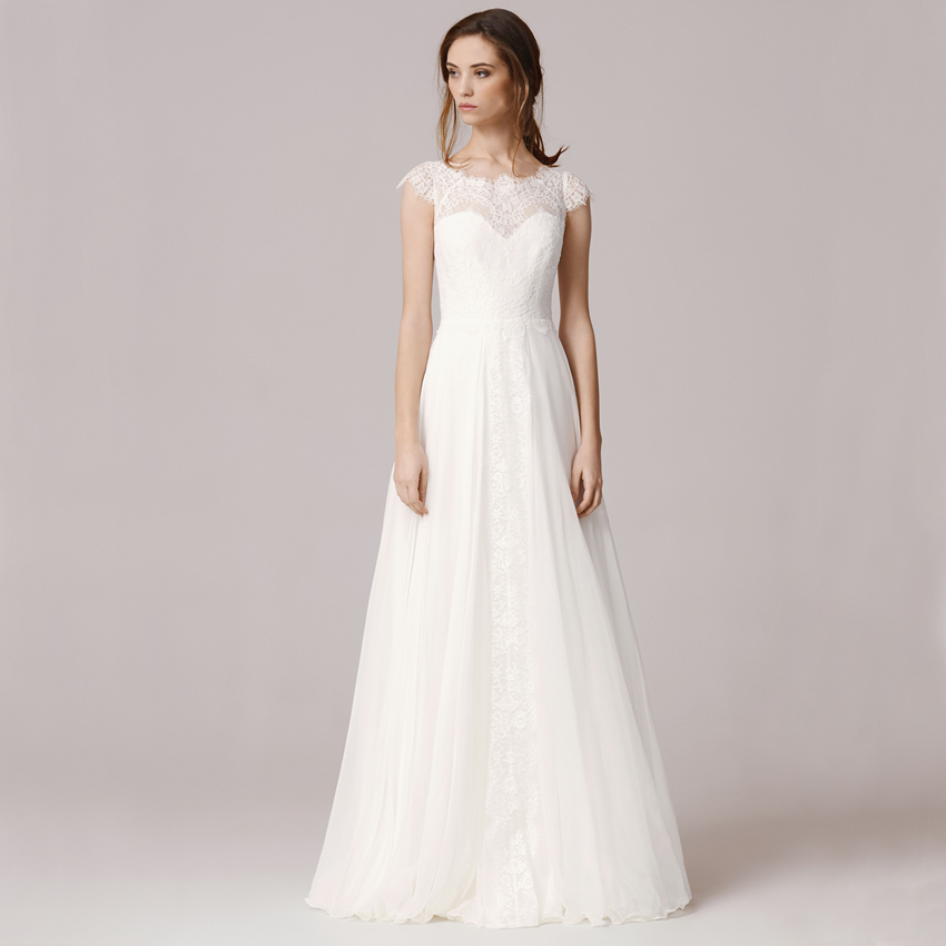 Simple A Line Long Sleeve Wedding Dress Elegant 2016: Vnaix FW1245 White Short Sleeve Sexy O Neck Long Solid
